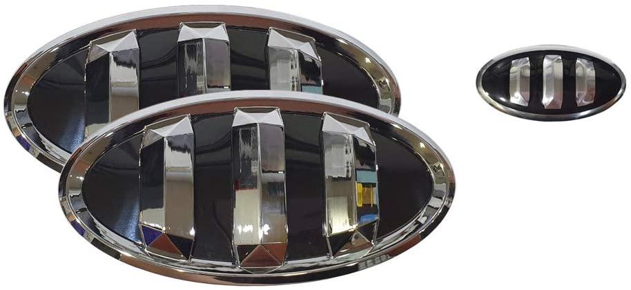 3D Tauro Black Emblem Set 3pc Front + Rear + Steering Wheel (Fit: KIA 2017+ Forte Sedan, K3, Cerato)