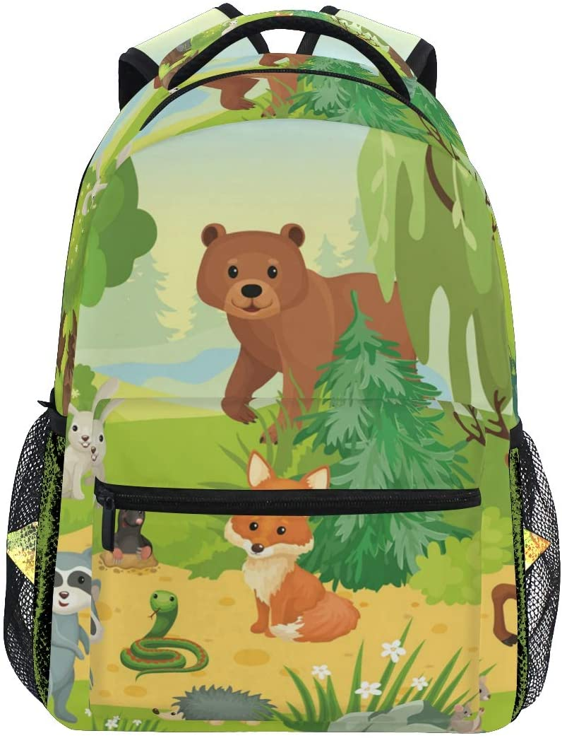 ALAZA Lightweight Backpack for School,Wild Animals Forest Deer Fox Bear Owl Cow Snake School Bookbag Laptop Backpack Casual Travel for Youth Boys and Girls Back to School