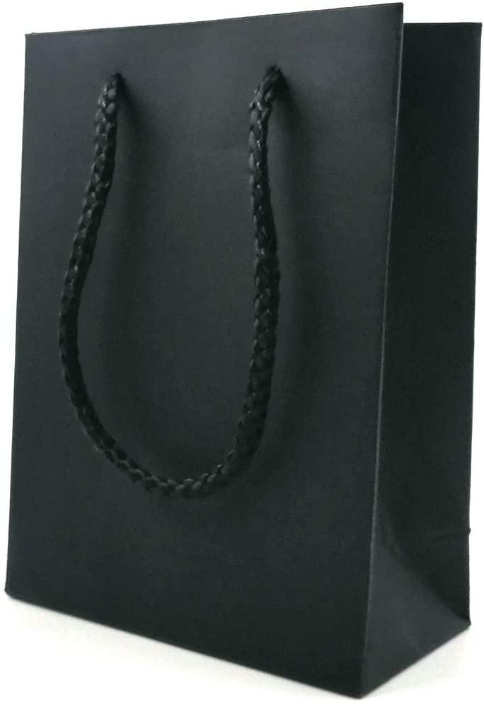 Paper Gift Bags with Handles, Yumin Kraft Paper Gift Bags for Small Gift Bags Favor Party Bags Wedding Bag Environmental Paper Bag - Black, 10 PCS