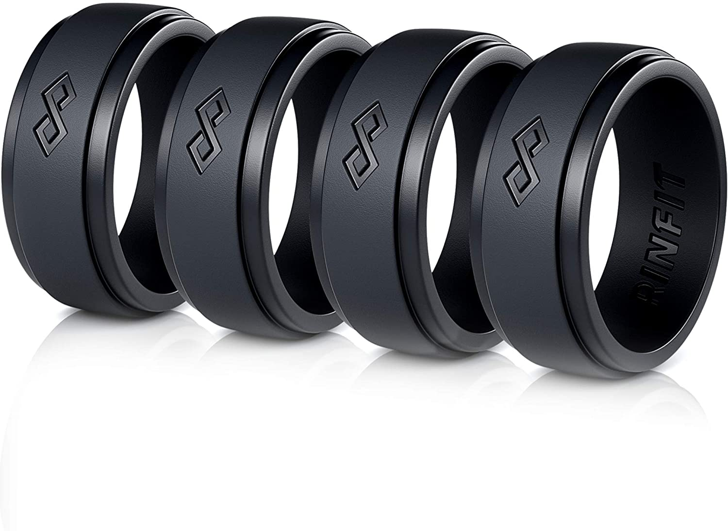 RinFit Silicone Wedding Ring for Men. 1/3/4/7 Rings Pack. Designed, Safe & Soft Men's Silicon Rubber Bands. Sizes 7-14 (12, Black, Black, Black, Black)