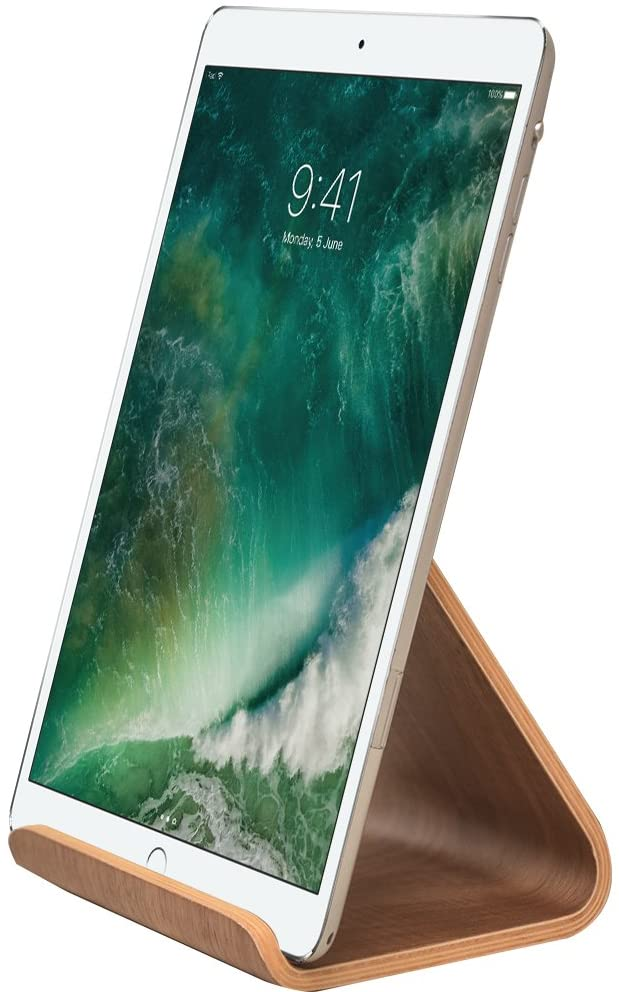 Samdi iPad Holder Stand Tablet iPhone Smartphone for Desk Kitchen Wood Mount (Black Wanlut)