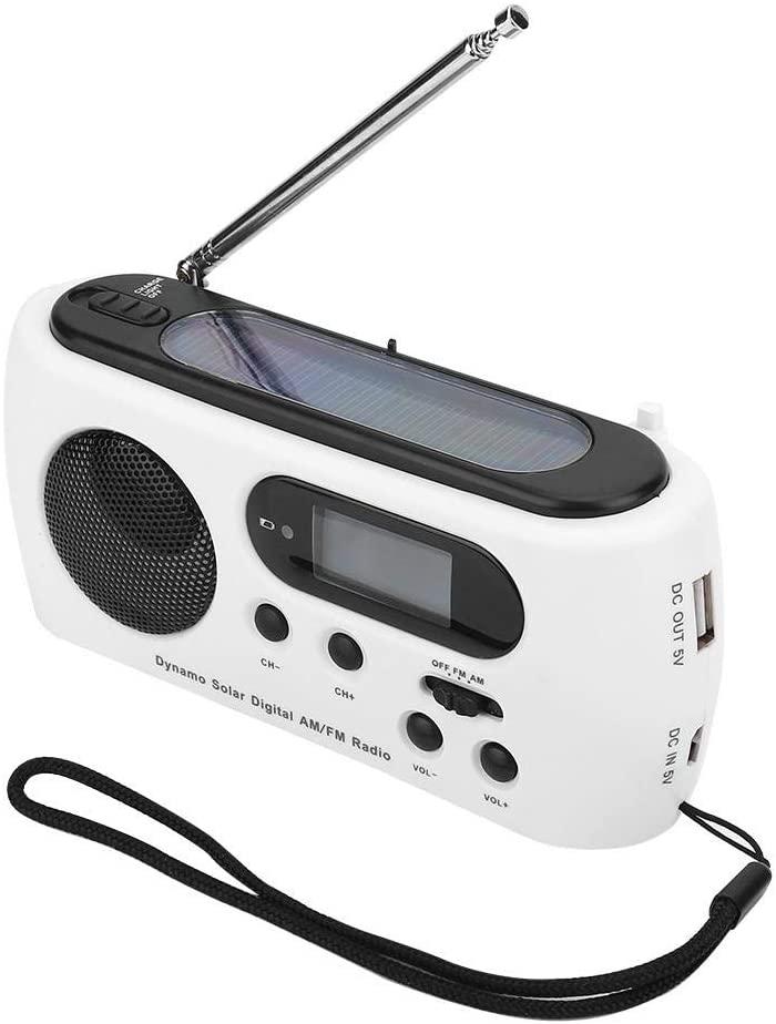 T best Hand Crank Radio, 3-LED Flashlights FM/AM Radio Portable Emergency Solar Power USB Radio with LED Flashlight Emergency Phone Charger(White)