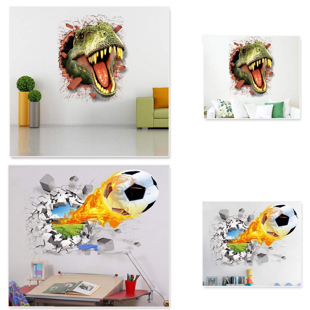 3D Wall Sticker Self-Adhesive Removable Vinyl Wall Sticker/Mural Decoration Ornaments Children's Bedroom Living Room (Open Mouth)