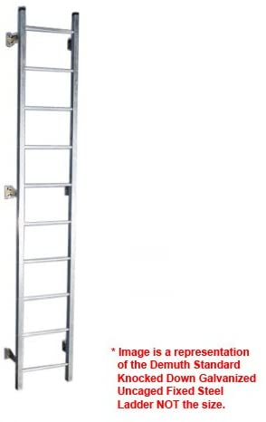 Demuth Standard Knocked Down Galvanized Uncaged Fixed Steel Ladders (Super Ladder Sections with Hardware) (7' High (6' 6