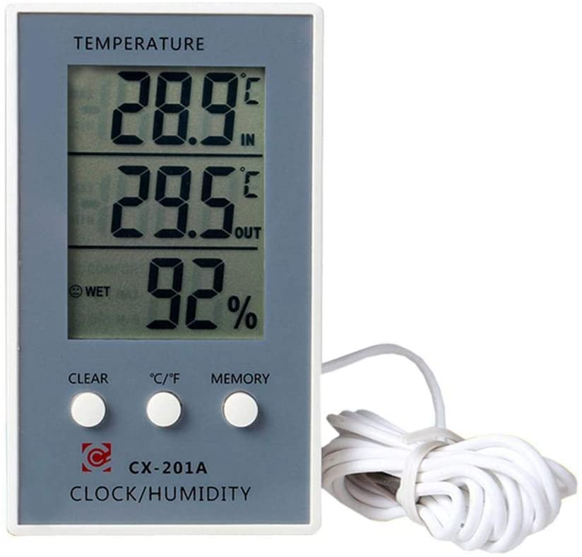 Digital Hygrometer Indoor Outdoor Thermometer Digital Humidity and Temperature Monitor with LCD Display(Batteries Not Included)