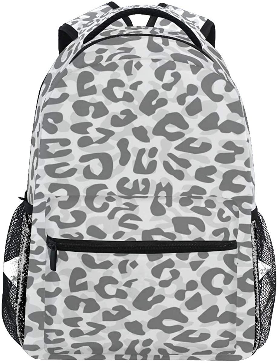 Leopard Camouflage Print Backpack School Bookbag Rucksack Shoulder Book Bag for Boys Girls Women Travel Daypacks