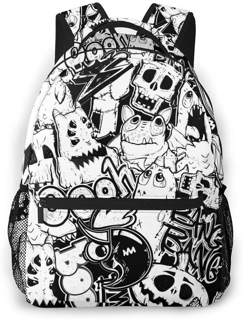 Dujiea Backpacks for Kids Skull Sketch Waterproof Book Bags for Laptop, Women Casual Daypacks School Rucksack Travel Backpack for Children Toddler 1th- 6th Grade Girls Boys