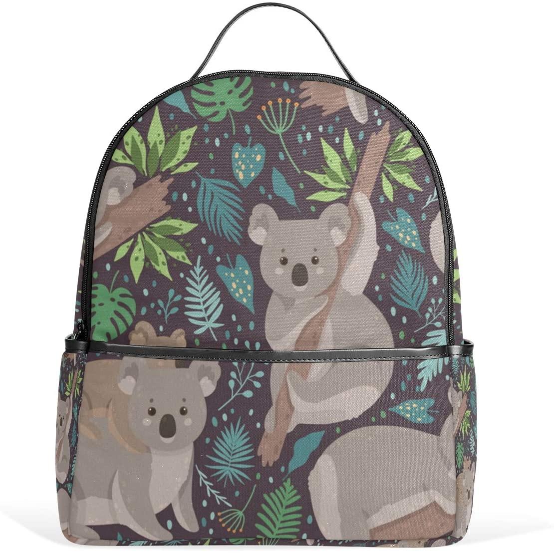 OREZI Cute Koala Surrounded By Tropical Leaves Schoolbag Bookbag Casual Rucksack Backpack for Girls Boys Kid's