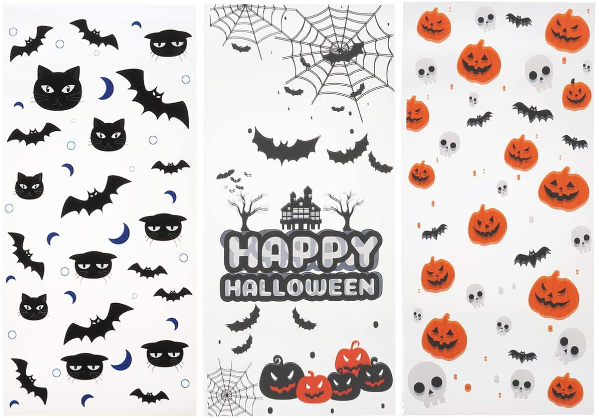 ULTECHNOVO 150pcs Halloween Candy Bags Plastic Treat Bags Clear Candy Cookie Bags with Tiles for Halloween Party Supplies Goody Bags Fillers Gifts