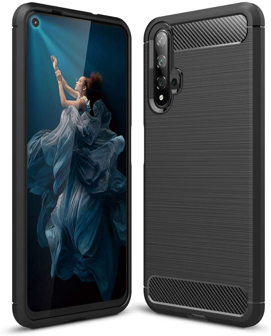 Huawei Honor 20 case,Silicone Shockproof Cover Durable Ultra Thin Carbon Fiber Soft Protection case for Huawei Honor 20 (Black)