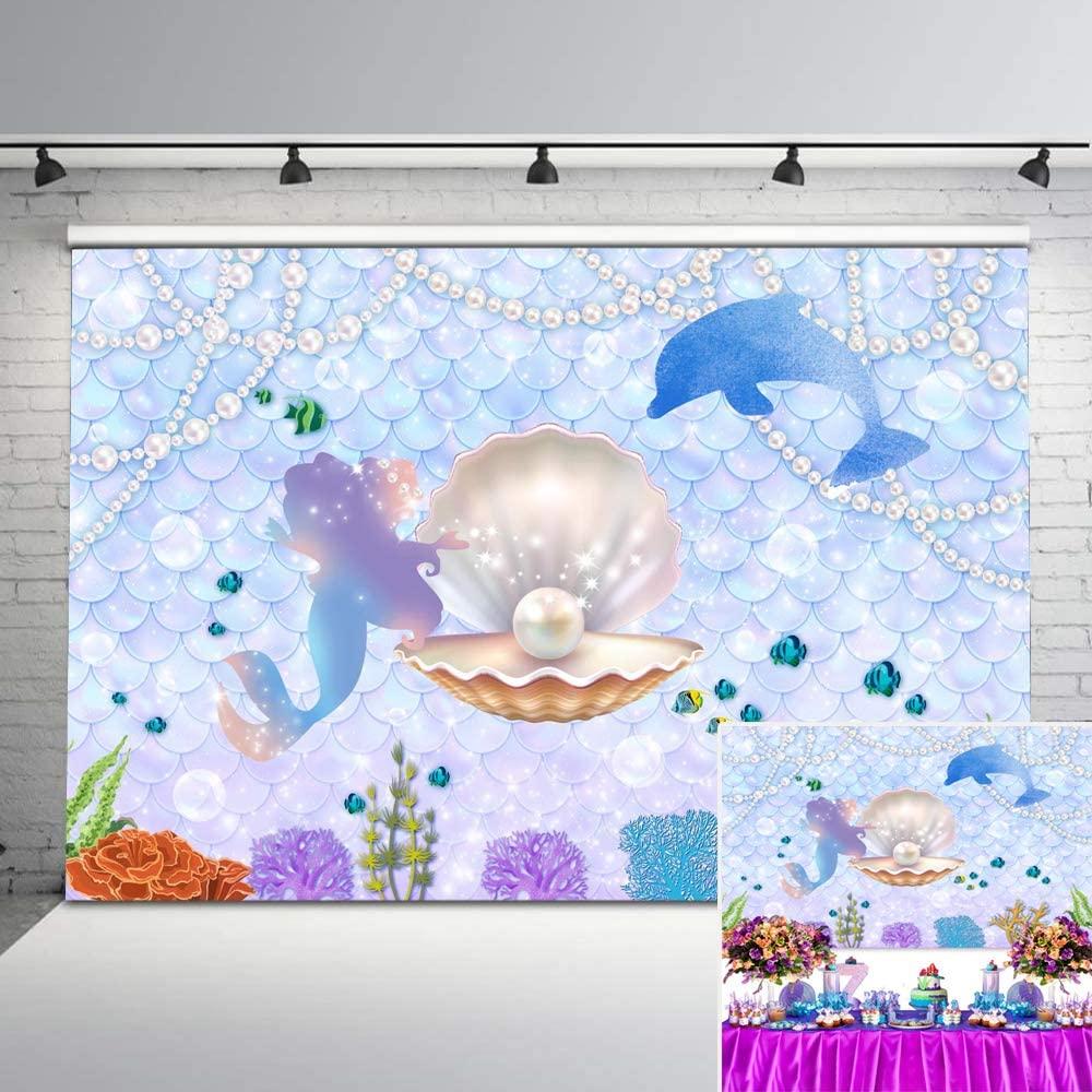 Avezano Mermaid Backdrop Under The Sea Shell Pearl Little Mermaid Princess Background 7x5ft Vinyl Glitter Mermaid Scales Baby Shower Birthday Backdrops