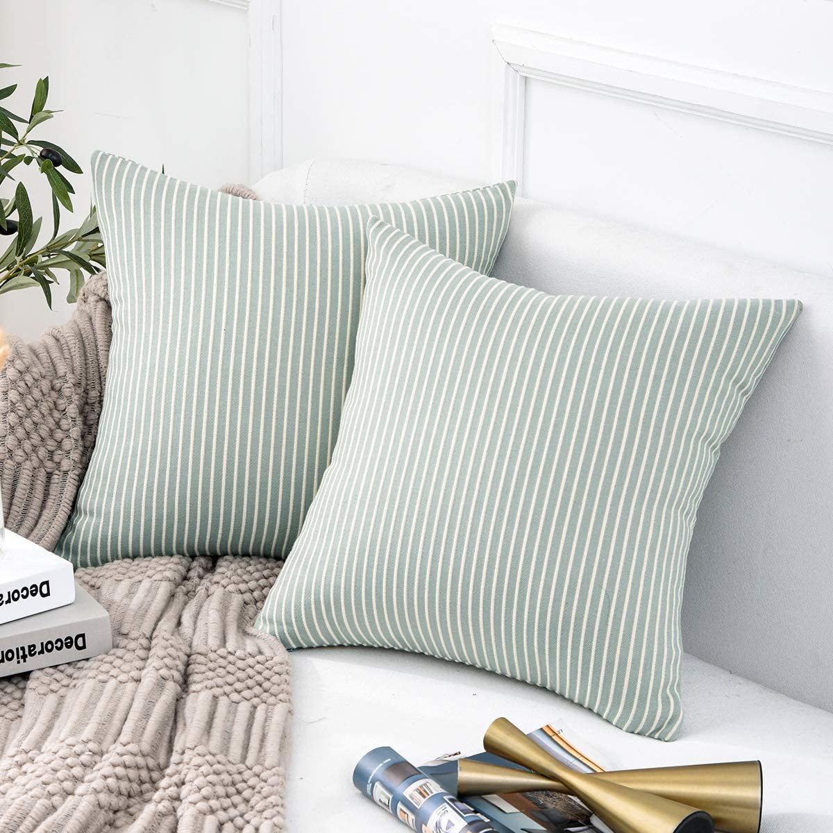 Jepeak Comfy Cotton Striped Throw Pillow Covers Cases, Pack of 2 Soft Decorative Square Ticking Cushion Covers for Sofa Couch (18 x 18 Inches, Light Teal)