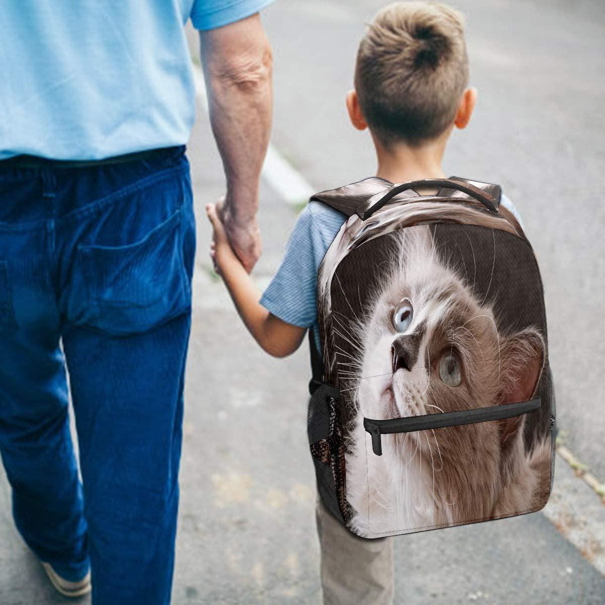 Ragdoll Breed Cat Face Backpack for Kids Girls Boys Teen Elementary School Children Bookbag Camping Daypack Purse Laptop Bag Tote multfunction Pocket with Wide Shoulder Straps
