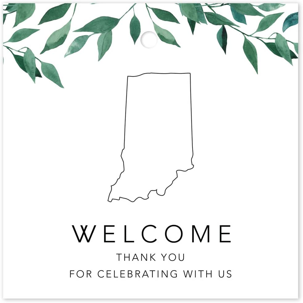 Andaz Press OOT Out of Town Wedding Gift Favor Bag Tags, 2-inch Square, Greenery Green Leaves Theme, Indiana, Welcome, Thank You for Celebrating with US, 24-Pack