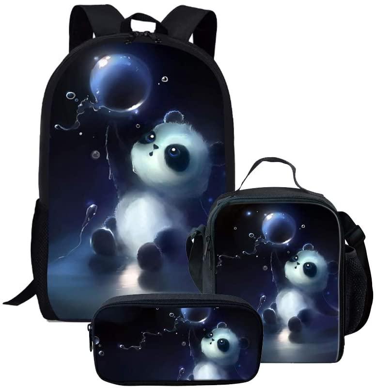 Cute Panda Backpack Rucksack School Bag Lunch Bag Box Pencil Bag (3 Pieces)