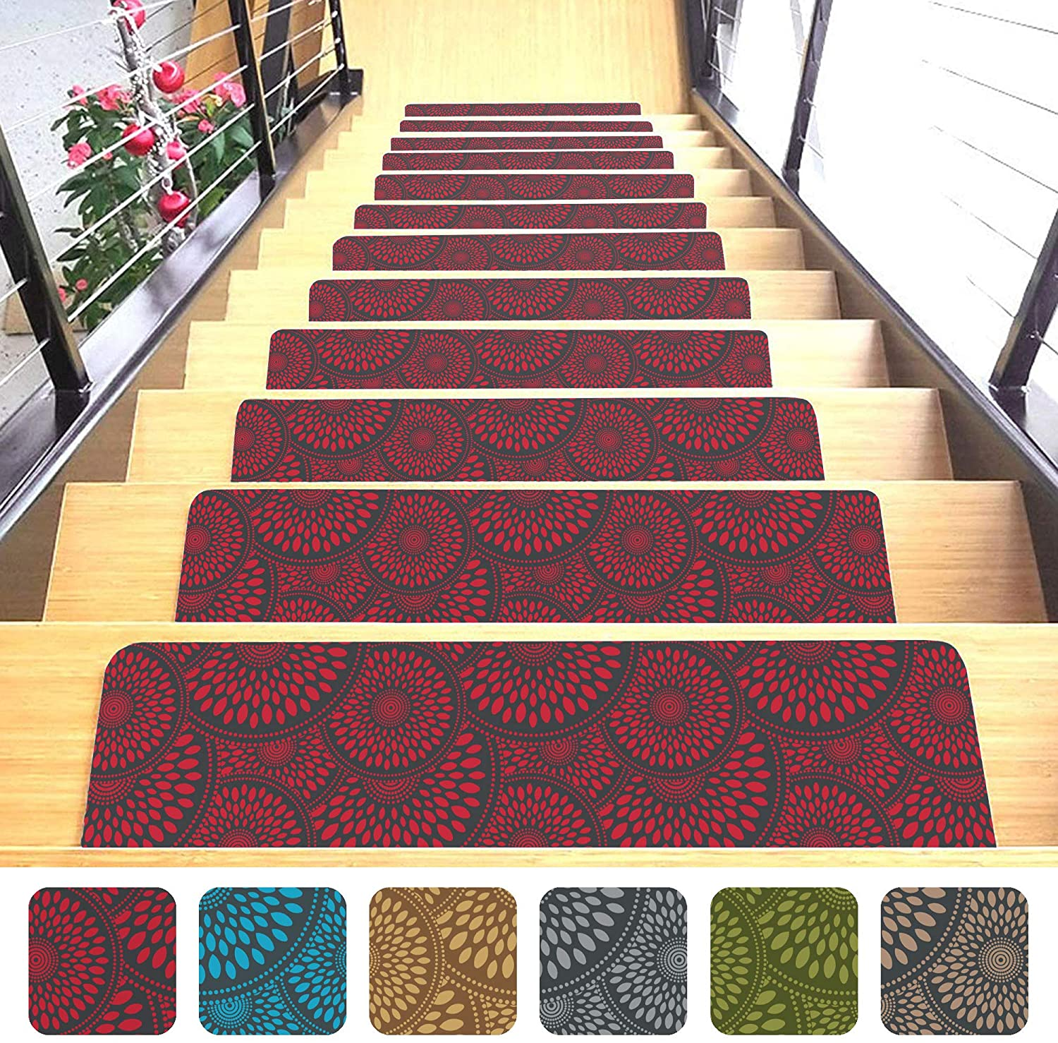 "Shape28 Stair Treads Ultra-Thin with Non Slip Rubber Backing 9""x26"", Red 7 Pieces"