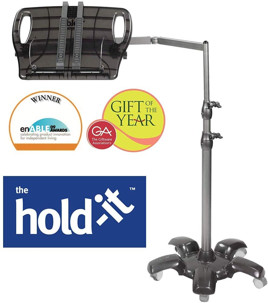 The Hold It Book Holder iPad Tablet Floor Stand Adjustable Handsfree Reading for Bed Sofa