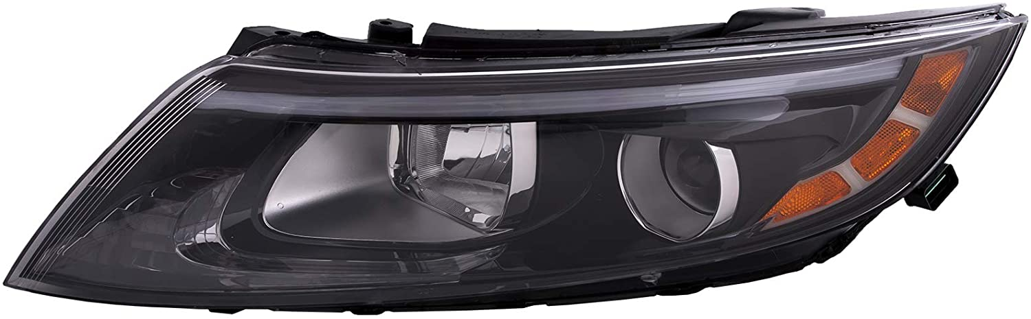 HEADLIGHTSDEPOT Halogen Headlight Compatible with Kia Optima 2014-2015 USA Built Includes Left Driver Side Headlamp