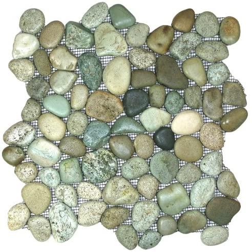 Glazed Sea Green Pebble Tile Sample