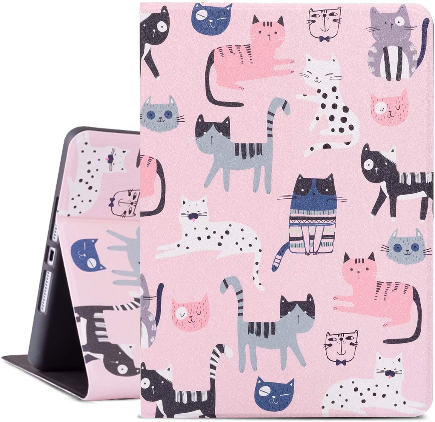 Cutebricase iPad 8th Gen Case 2020, iPad 7th Generation Case, Pink Cats iPad 10.2 Inch Case 2019 Protective Cover, Multi-Angle Viewing Case with Adjustable Stand Auto Wake/Sleep Function (Cats)