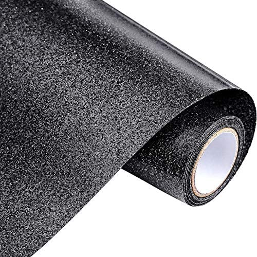 Frienda 12 Inches by 5 Feet Glitter Heat Transfer Vinyl Roll Iron on Vinyl for DIY T-Shirts, Pillow and Other Textiles, Easy to Cut, Weed and Transfer (Black)