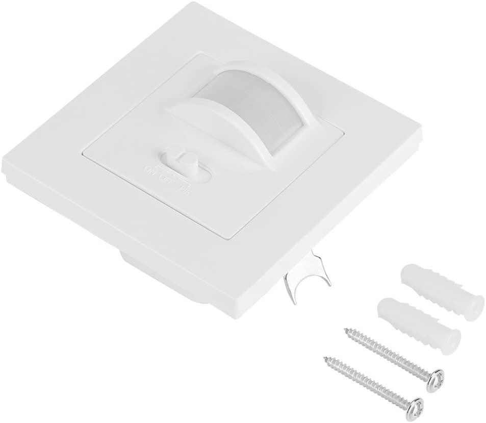 Occupancy Sensor Switch - AC 110V-240V Infrared PIR Motion Sensor Recessed Wall Lamp Light Bulb Switch(White)