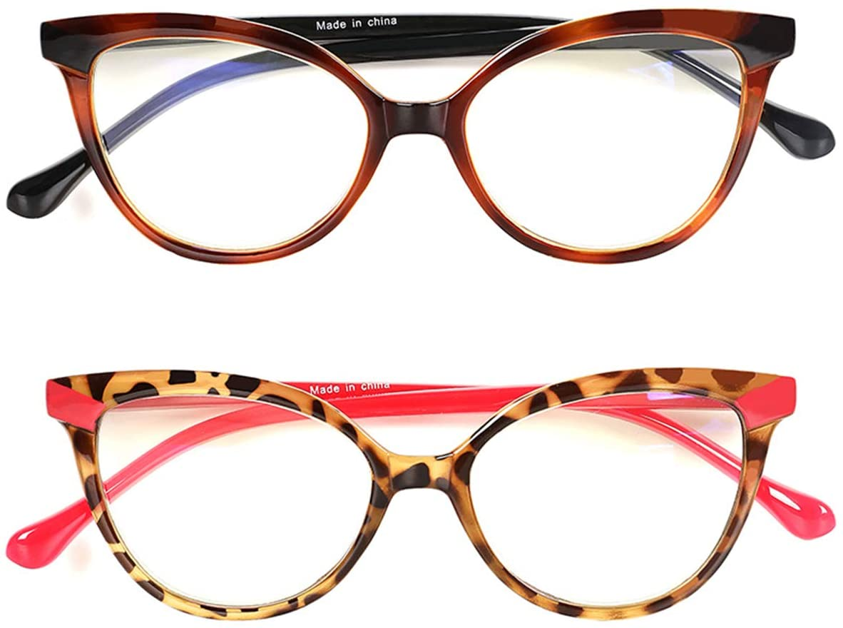 Aiceco Reading Glasses, Blue Light Blocking Glasses Rectangular Cateye with Readers Spring Hinge Glasses, Fashion Readers for Women Anti Eyestrain (Leopard, 1.0)