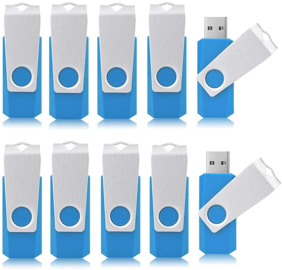 Aiibe 32GB 32G Flash Drive 10 Pack USB Flash Drive Thumb Drive 32GB USB 2.0 Flash Drives Bulk 32 GB USB Drive Keychain Design (Sky Blue)