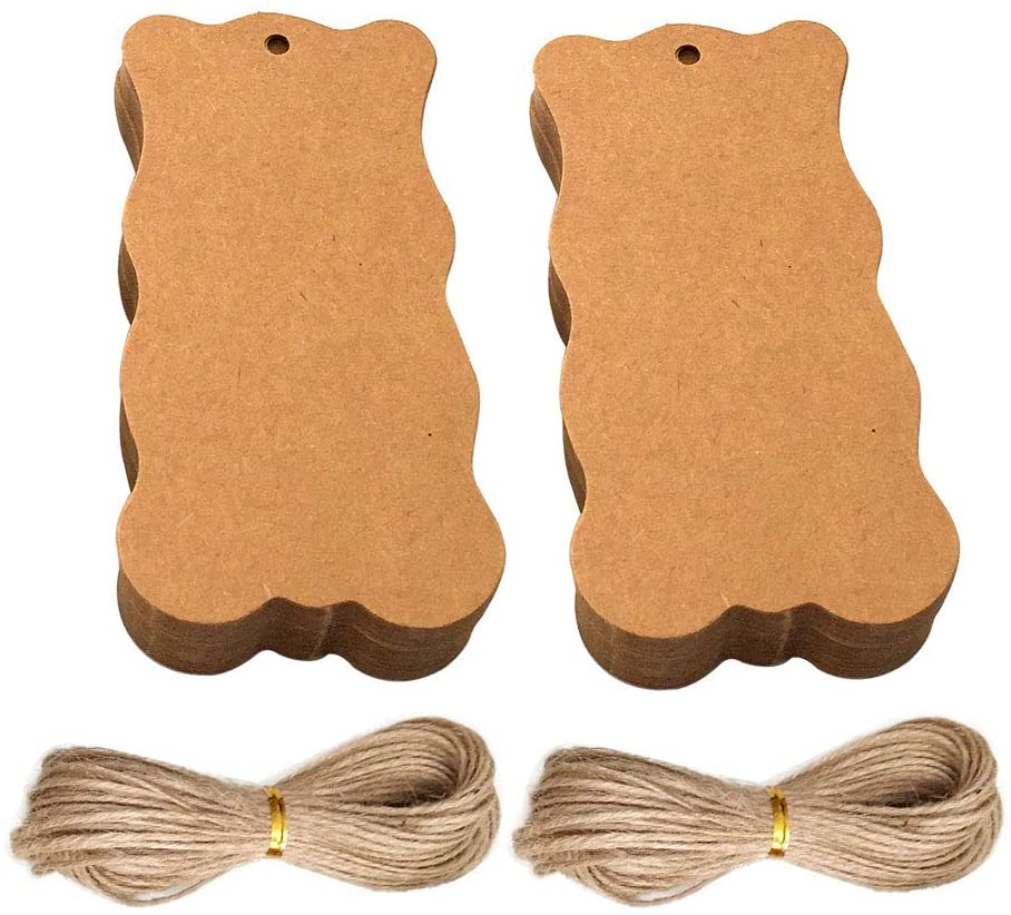 JANOU 100pcs Waved Rectangle Gift Tags Kraft Paper Hanging Tags Labels with Hemp Rope for Wedding Birthday Christmas Party Favor, 4x2 Inch (Brown)