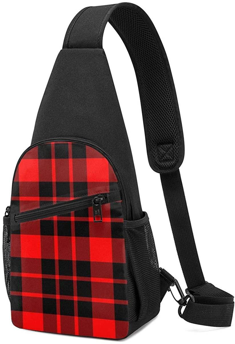 QIUYELONG Sling Backpack,Travel Hiking Daypack Pattern Rope Crossbody Shoulder Bag Red and Black Plaid Printed