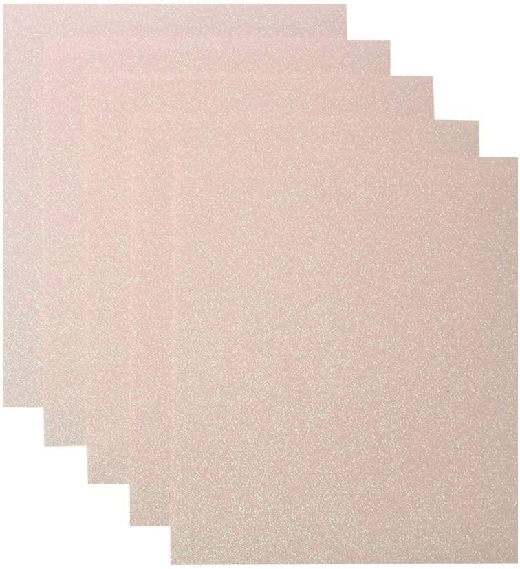 Kenteer 5 Pack Glitter Heat Transfer Vinyl Sheets, 10 x 12 Bundle of Glitter HTV Iron on Vinyl Film for Fabric,DIY, T-Shirt