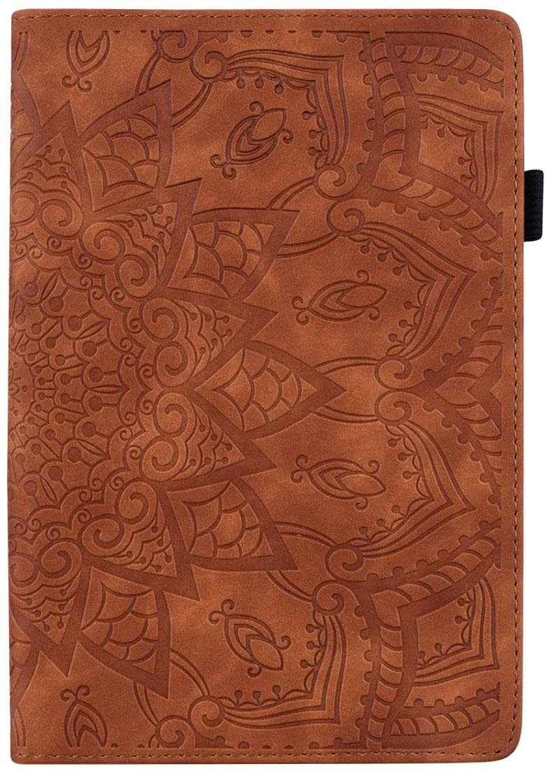 Pefcase iPad Mini 7.9 inch Case/Mini 2/ Mini 3/Mini 4/ Mini 5 Cover, PU Leather Lightweight Slim with Multiple Viewing Angles Card Holders Mandala Flower for iPad Mini 2/3/4/5 - Brown