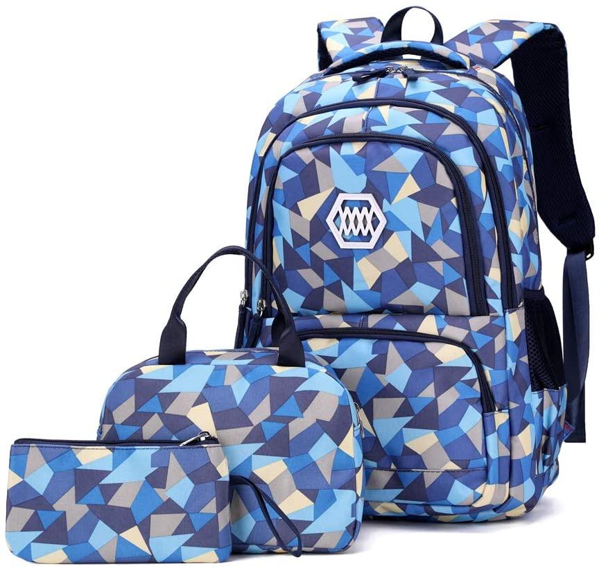 Bansusu 3Pcs Geometric Prints Primary School Student Satchel Shoulder Schoolbag for Middle School Girls Boys Backpack with Lunch Bag