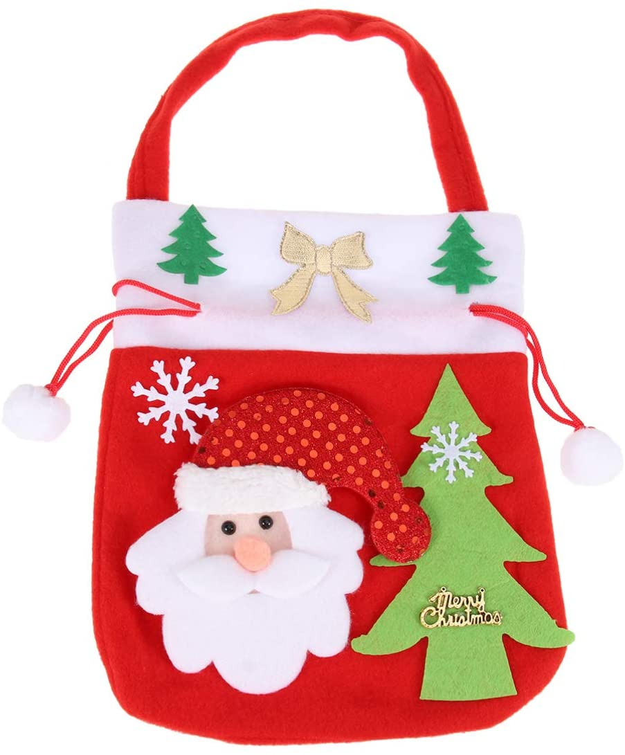 Amosfun Christmas Candy Bag Xmas Santa Gift Bags Souvenir Pouch for Kids Children Christmas Party Supplies (Santa)