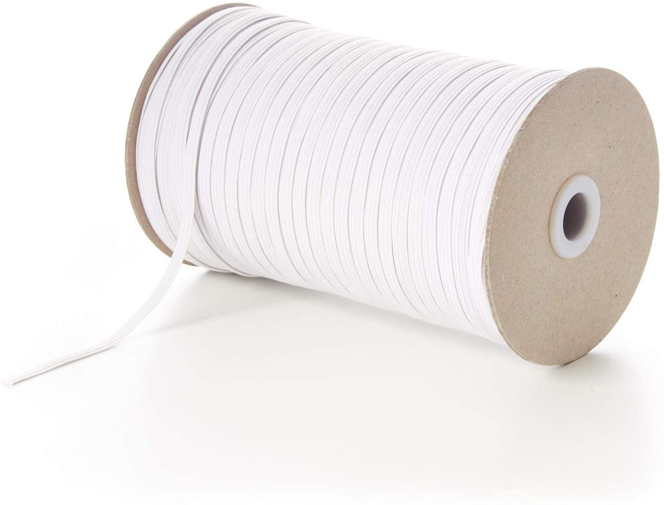 Moosth Flat Elastic Bands for Sewing String Cord for Mask White (100 Yard)