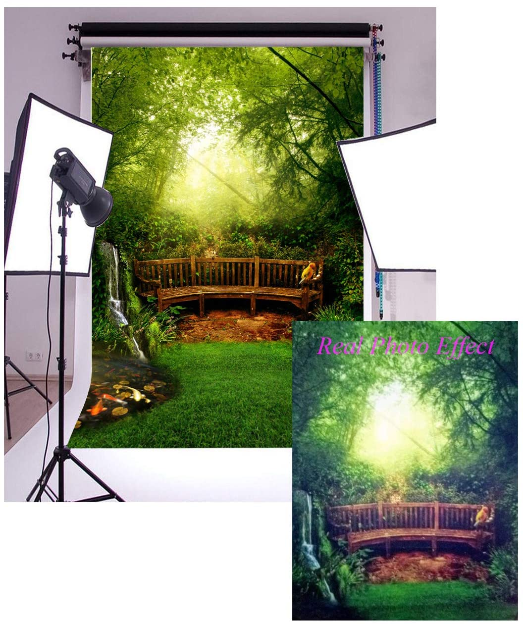 Leowefowa 3X5FT Vinyl Jungle Forest Backdrop for Photography Dreamland Trees Green Grassland Weathered Wooden Bench Fairytale Background Girls Princess Portraits Photo Studio Prop