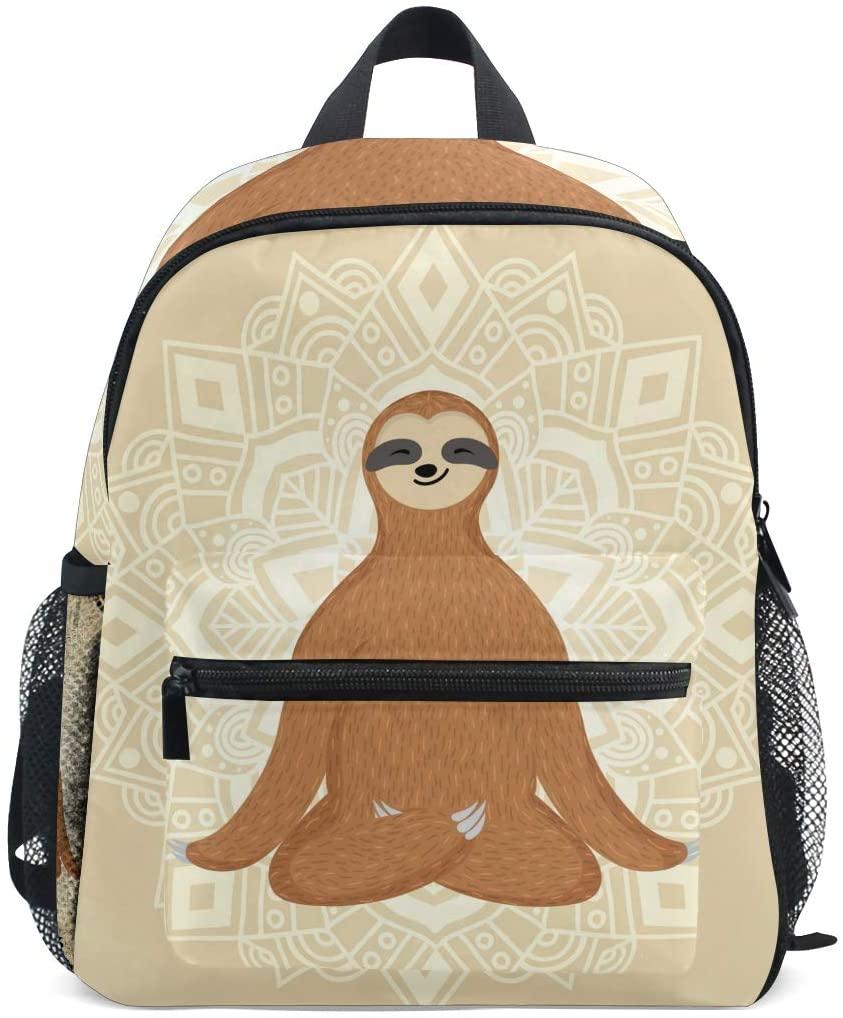 Sloth Backpacks for Boys Girls Kids School Bag Funny Sloth Yoga Lotus Relaxing Mandala Waterproof Cute Bookbags Preschool Elementary Supplies School Bags for 1th 2th 3th Grade