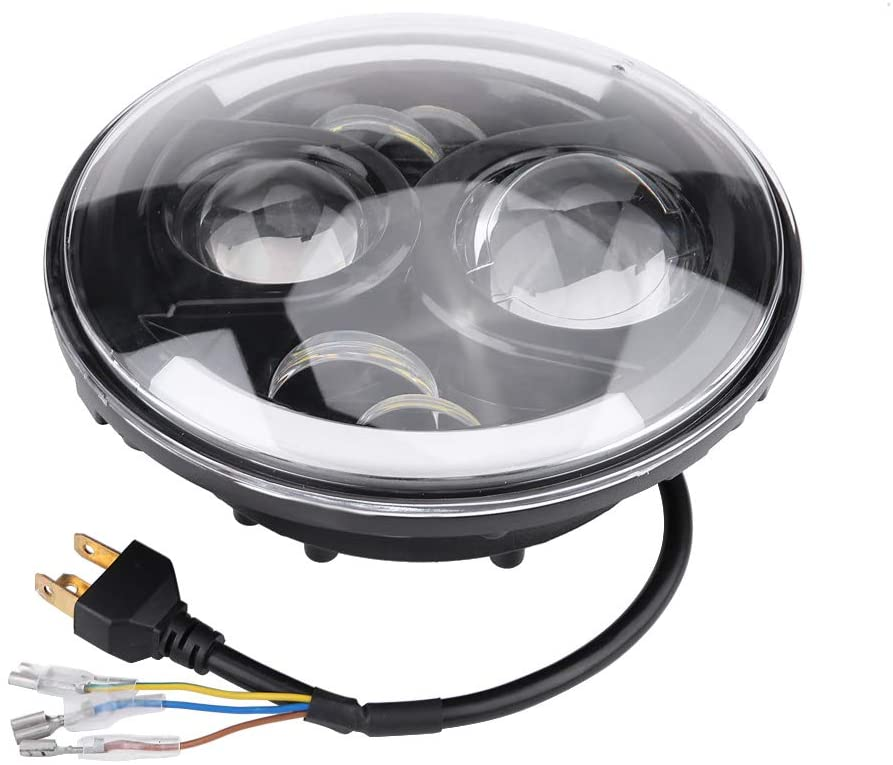Lamp Housing, 7Inch Refit Round Motorcycle H4 Headlight Headlamp with Lamp Housing and Headlight Brackets(Light)