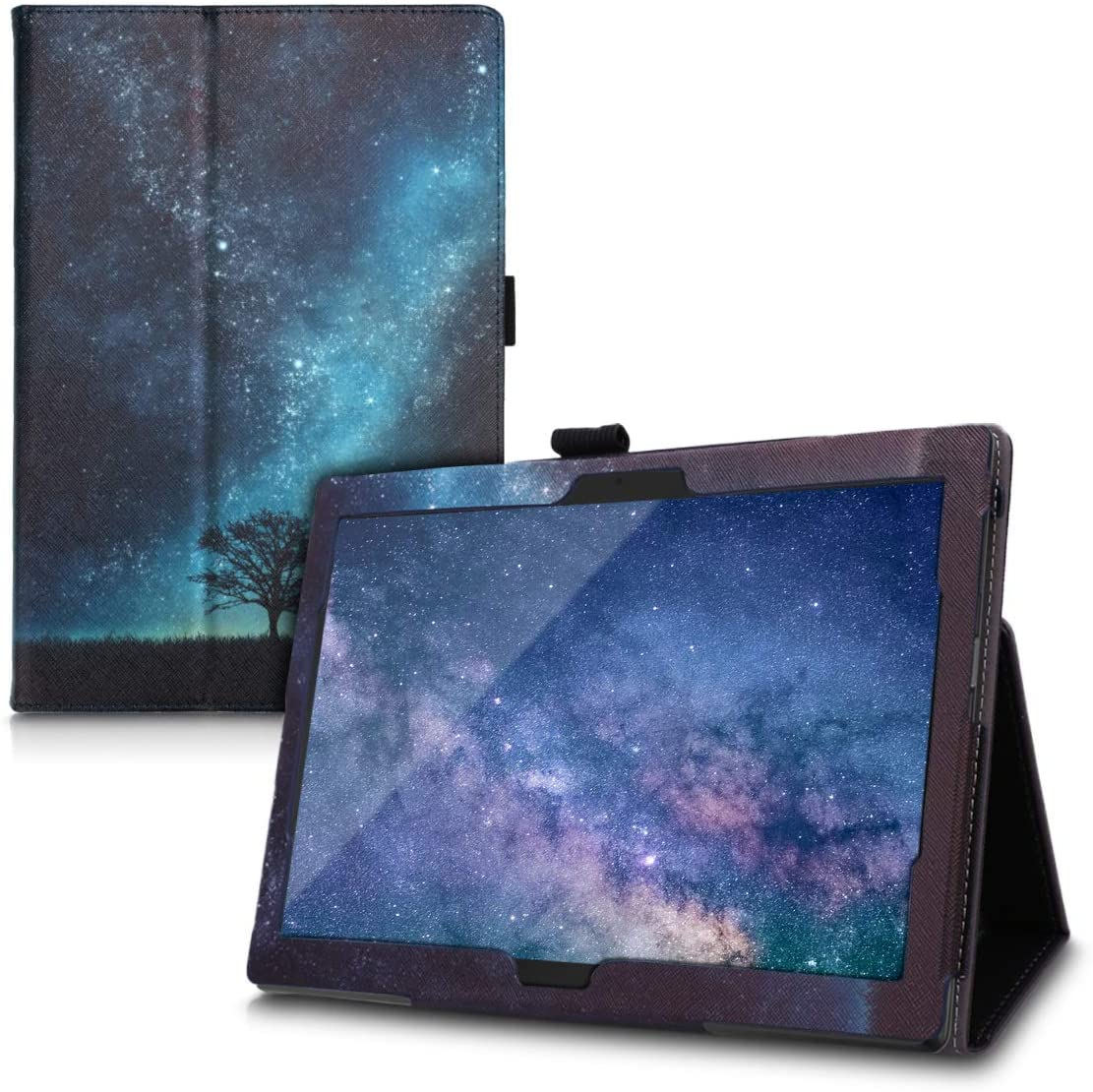 kwmobile Case Compatible with Lenovo Tab 4 10 - Slim PU Leather Tablet Cover with Stand Feature - Cosmic Nature Blue/Grey/Black