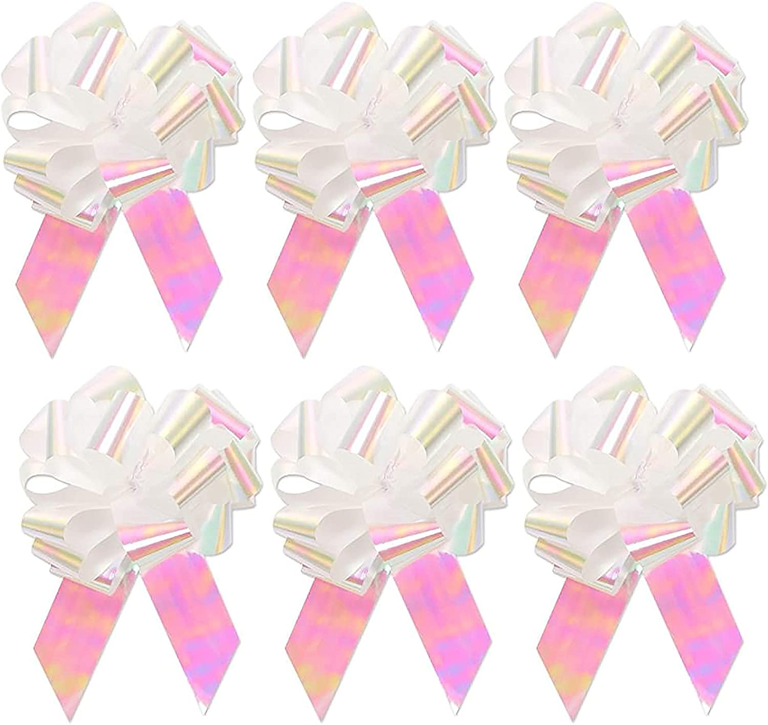 Large Metallic White Holographic Iridescent Gift Wrap Pull Bows - 5