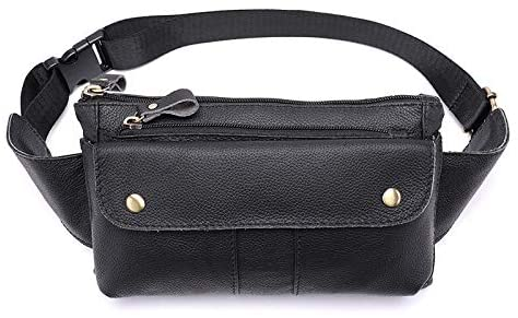 Fashion Waist Packs Genuine Leather Fanny Pack, Cowhide Leather Multifunction Waist Pack, Casual Solid Hip Bum Bag, Sturdy Zippers Ideal for Hiking Running and Cycling