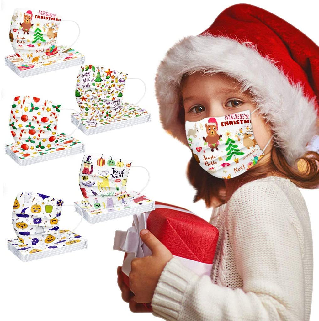 AIHOU 50PCS Kids Disposable Face Mask Breathable 3 Layer Cloth Protective Masks with Adjustable Nose Bridge Elastic Earloops For Childrens Outdoor School Daily Use