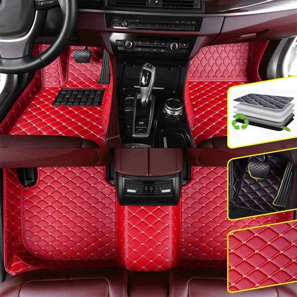 DBL Custom Car Floor Mats for Infiniti 2004 Infiniti QX80 7-Seat Waterproof Non-Slip Leather Carpets Automotive Interior Accessories 1 Set Red