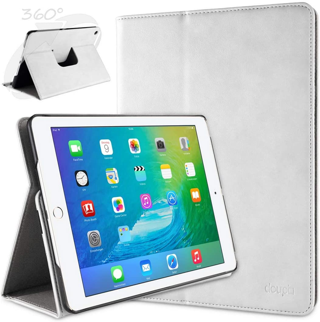 doupi 360 Smart Flip Cover for Apple iPad Air 2 (2. Gen.) iPad Air2 Deluxe Leatherette Protective Case Sleep/Wake Function 360 Degree Rotatable Stand Screen Protector White