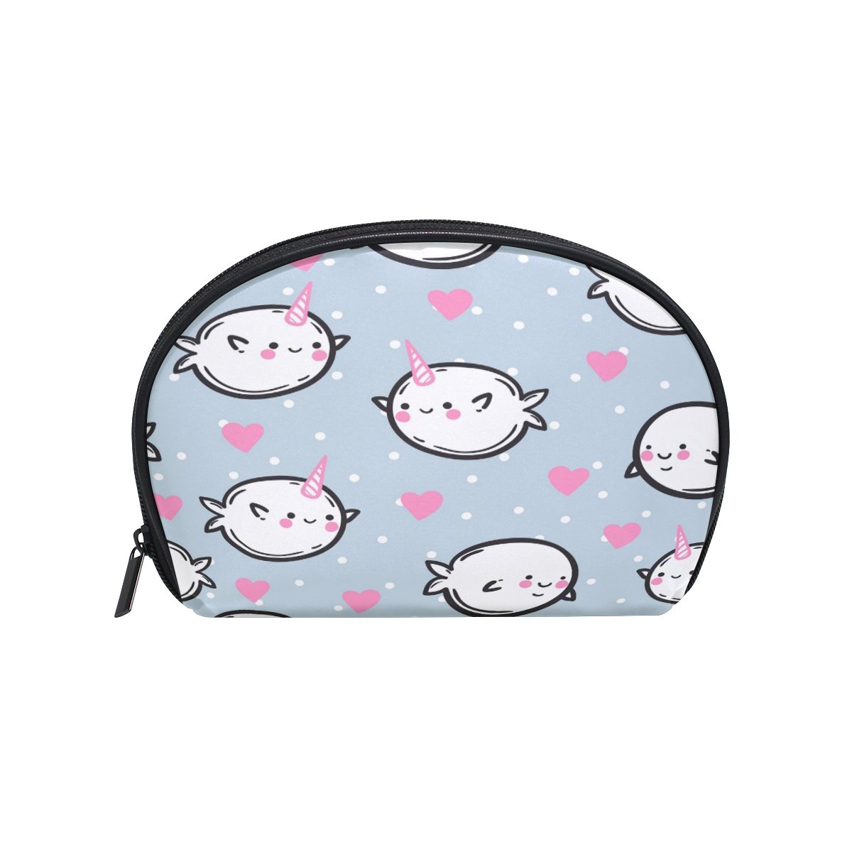 ALAZA Unicorn Whale Half Moon Cosmetic Makeup Toiletry Bag Pouch Travel Handy Purse Organizer Bag for Women Girls
