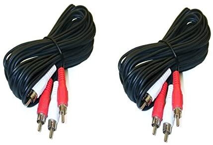 2 Pack, 12 Feet 2 RCA Male to Male Audio Cable (2 White/2 Red Connectors) , CNE467011