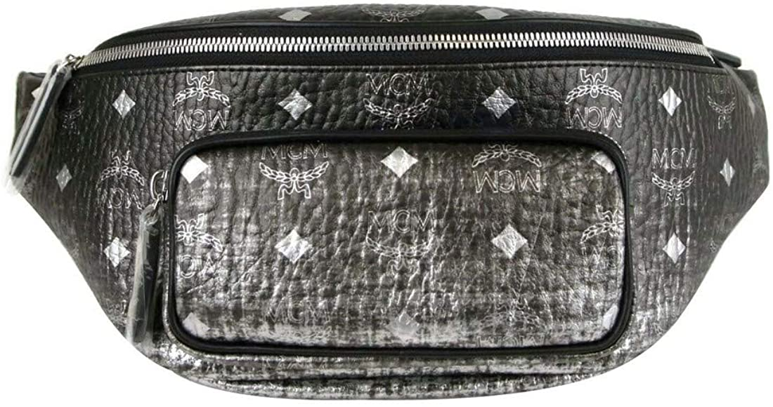 MCM Women's Silver/Black Gradient Coated Canvas Medium Belt Bag MUZ9AFI36SV001
