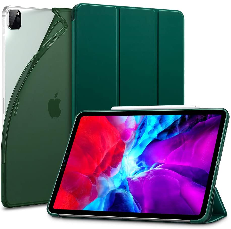 ESR for iPad Pro 12.9 Case 2020 & 2018, Rebound Slim Smart Case with Auto Sleep/Wake [Viewing/Typing Stand Mode] [Flexible TPU Back with Rubberized Cover] - Pine Green