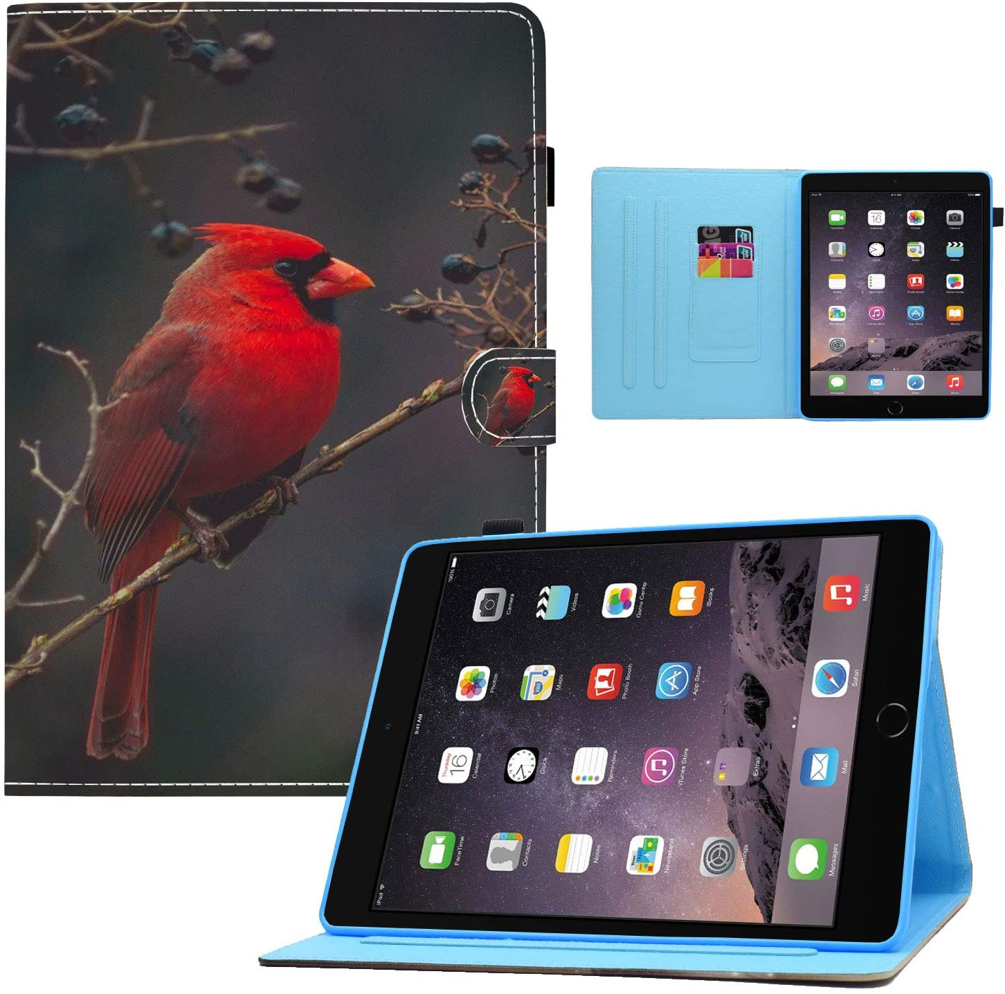 iPad 9.7 2018 2017/iPad Air 2/iPad Air Case,Red Cardinal Bird Design Card Slot PU Leather Soft TPU Protective Case with Pen Holder Auto Wake Sleep for iPad 6th / 5th Gen, iPad Air 1/2