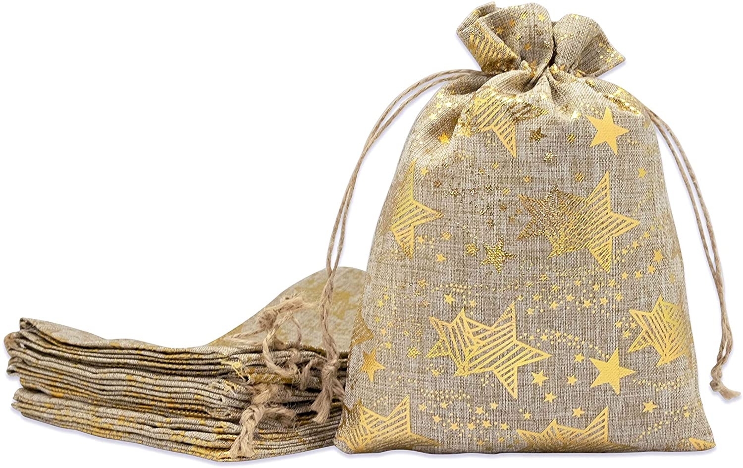 48pk 12x16 Jute Burlap Linen Canvas Gift Bags with Drawstring for Presents, Party Favors, Samples (Golden Stars, Extra Large) by TheDisplayGuys